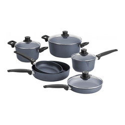 "Woll - Woll Diamond Plus Nonstick Induction 10-Piece Cookware Set - Finally, you can say ""see ya!"" to scratching. This diamond reinforced nonstick cookware stands up to metal utensils no problem. Plus, these pots and pans conduct heat four times faster than copper with no hot spots — and they're even oven safe."