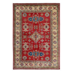"""ALRUG - Handmade Red Oriental Kazak Rug 6' 6"""" x 9' 3"""" (ft) - This Afghan Kazak design rug is hand-knotted with Wool on Cotton."""