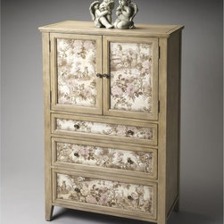Butler - Butler Tall Door Chest - Connoisseur s Multicolor - 1147090 - Shop for Dressers from Hayneedle.com! For a treasured heirloom look the Butler Tall Door Chest - Connoisseurs blends Victorian styled fabric inlays and an antiqued finish. It's handcrafted of gemelina solids and maple veneers in a distressed driftwood finish accented by antiqued brass finished hardware. Three drawers and an adjustable shelf behind the double doors make it practical. About Butler SpecialtyButler Specialty Company has been designing and manufacturing high-quality occasional and accent furniture since 1930. Each piece reflects Butler's dedication to enduring design exquisite craftsmanship and top-quality materials. This family-owned company is based in Chicago. They scour the globe in search of the finest materials and most efficient means of production reflecting their commitment to providing excellent quality at exceptional value.