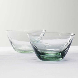 Viva Terra - Dimpled Glass Bowls (set of 4) - The footed glass, bowl, tumbler and pitcher all share a common source: recycled