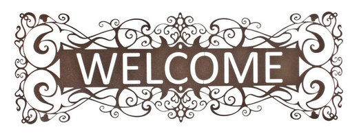 "Lazart - Filigree Welcome Metal Art Over Door Hanger in Espresso - Filigree Welcome Metal Art Over Door Hanger in Espresso. A warm espresso toned welcome sign in metal art is perfect for greeting guests as they enter your home. Delicately laser cut, this filigree design fits so well in many decors. The deep brown espresso hue adds a warm touch to this exceptional metal art piece. Measuring 30""W, it's sure to bring compliments a-plenty."