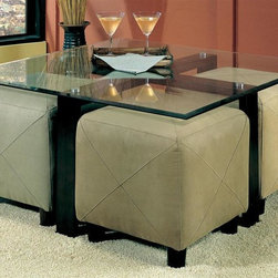 Coaster - Cermak Square Cocktail Table - Ottomans sold separately. Contemporary style. Clean lines and crossing base. Sleek square beveled glass top. Metal base in black color. 40 in. W x 40 in. D x 20 in. H. WarrantyThis sleek contemporary cocktail table will be a wonderful addition to your living room. This coffee table will blend easily with your decor, and can be paired with a variety of small ottomans for a great multi-functional style that is ideal for entertaining. Add this beautiful table to your living room for a fresh look that you will truly love.