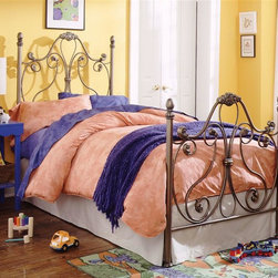 "Leggett/Platt Fashion Bed - Metal Bed Frame in Majestique Finish (Twin) - Choose Bed Size: TwinMajestique finish. Made of Metal with Aluminum Castings. Twin: 39 1/4 in. W x 81 in. L x 59 3/8 in. H. Full: 54 1/4 in. W x 81 in. L x 59 3/8 in. H. Queen: 61 1/4 in. W x 81 in. L x 59 3/8 in. H. King: 77 1/4 in. W x 81 in. L x 59 3/8 in. HThe whimsical scrollwork of the Aynsley bed gives it a light and airy look. The lyrical sweep of the 59 3/8"" headboard and matching 43 3/8"" footboard are the perfect backdrop for your puffiest pillows and softest comforter; a nurturing sanctuary in which you'll want to spend plenty of time. The Majestique finish -  a bronze-silver with dark gray highlight coloring finished with lacquer.  It is specially designed to suit that perfect romantic haven in your home."