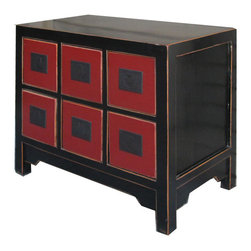 Golden Lotus - Chinese Black Red 6 Drawers CD Cabinet Nightstand End Table - Look at this Chinese black&red six drawers cabinet which is made of solid elm wood.  Besides it is used as nightstand end table, it can be used as CD cabinet.