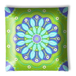 """Gypsy Bandana Purple and Green Floral Ceiling Light - 12"""" square semi flushmount ceiling lamp with designer finish. Includes complete installation instructions and complete light fixture. Wipes clean with a damp cloth. Uses 2-60 watt bulbs (not included) and is made with eco-friendly/non-toxic products. This is not a licensed product, but is made with fully licensed products."""