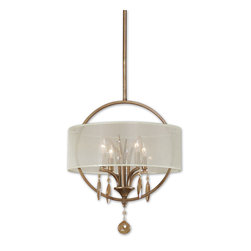 Uttermost - Alenya 4-Light Fabric Drum Pendant - You'll see a bright future every time you turn on this elegant pendant lamp with finely wrought crystal drops and golden teak crystal leaves. The sheer silk shade lets the light shine softly and the clean, classic circle will make its own statement no matter where you hang it.