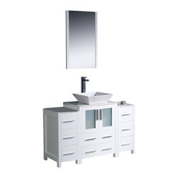 "Fresca - Fresca Torino 48"" Modern Bathroom Vanity w/ Two Side Cabinets & Vessel Sink - Wh - Fresca is pleased to usher in a new age of customization with the introduction of its Torino line. The frosted glass panels of the doors balance out the sleek and modern lines of Torino, making it fit perfectly in either Town or Country dcor."