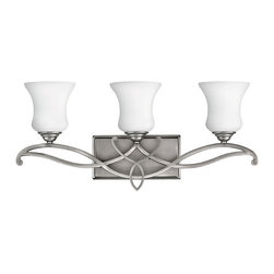 Hinkley - Brooke 3-Light Bathroom Vanity Antique Nickel - The Brooke Collection features Antique Nickel Finish and Etched Opal Glass