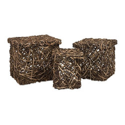 IMAX Worldwide Home - Mixed Rattan Square Boxes - Set of 3 - Set of three lidded storage boxes made of vine and rattan.  exclusive to IMAX. Accessories. 9.5-10.75-12 in. H x 8.5-11-13 in. W x 8.5-11-13 in. D. 50% Vine & 50% Rattan Skin