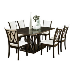 Homelegance - Homelegance Garvey 7-Piece Pedestal Dining Room Set with White Chairs - Beautiful from every angle, the ebony finished Garvey collection is a unique addition to your contemporary or transitional casual dining room. The boldly designed base of the table features interwoven wood slats creating a birdcage effect. The radiating walnut veneer pattern of the tabletop creates another design layer that takes the style to the next level. With two chair options, the collection becomes exactly what you envision. White or dark brown bi-cast vinyl seating and backs are accented with the base's X-design rounding out the look.