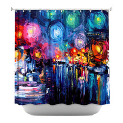 DiaNoche Designs - Shower Curtain Artistic - Midnight Harbor xix - DiaNoche Designs works with artists from around the world to bring unique, artistic products to decorate all aspects of your home.  Our designer Shower Curtains will be the talk of every guest to visit your bathroom!  Our Shower Curtains have Sewn reinforced holes for curtain rings, Shower Curtain Rings Not Included.  Dye Sublimation printing adheres the ink to the material for long life and durability. Machine Wash upon arrival for maximum softness. Made in USA.  Shower Curtain Rings Not Included.