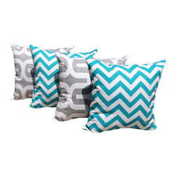 Land of Pillows - Zig Zag Chevron Turquoise and Embrace Storm Gray Indoor Throw Pillow - Set of 4 - Give your sofa, day bed, or window seat the perfect pop of cool colors with these geometrically patterned throw pillows. This set of four decorative pillows includes two with a chic turquoise chevron design, and two with a gray zig zag design, all with a white background. These square pillows come with high quality fiber filling, and a soft cotton zipper closed cover.