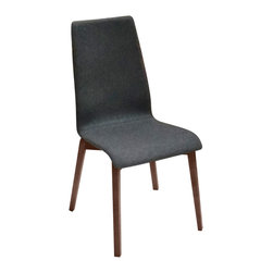 DomItalia Furniture - Jill-L Dining Chair in Dark Grey / Walnut (Set of 2) - With a four-leg base in a sturdy ashwood frame, the shell of the chair is upholstered in wool. This combination provides a dynamic contrast of materials and color. Quality Italian craftsmanship combines with minimalist design elements to produce the Domitalia Jill-L Dining Chair in Dark Grey and Walnut (Set of 2). Modern dining chair offers a clean aesthetic integrated into the sleek angles and curved contours that are found both in the frame and shell.