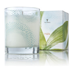 Naia Candle - Mingle the olfactory beauties of fresh cotton, clean linen, refreshing citrus zest, and deep subtle greens with the Naia Candle, a high-quality wax poured candle in a frosted glass cup with a transitional pattern in light teal.  Clarify your thinking and give your surroundings a sense of aired-out cleanliness when you burn this luxury scented candle, which is perfect for bath, bedroom, and living room.