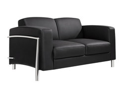 At the Office - 1 Series Love Seat - This piece was made for two. You and another can cozy up on this beautiful love seat, surrounded by thick cushions. Besides each other, the high, wide armrests keep you nestled in comfort.