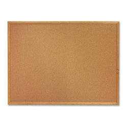 """Sparco - Sparco Wood Frame Cork Board, 36""""x48"""", Brown Cork Surface, Oak - Corkboard features thick cork that is laminated to sturdy fiberboard with a sealed back. Design provides long-lasting service and prevents warping. Cork is 0.8mm thick with an 8.5mm backing. Pushpins and tacks penetrate easily and hold firmly. Corkboard has an oak finish frame and factory-mounted hangers."""