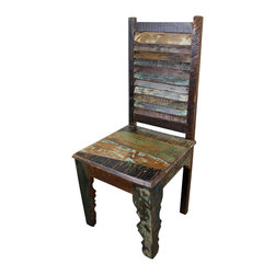 Mexicali Rustic Wood Chair - Distressed Finish Mexicali Rustic Solid wood Dining Chair. This recycled wooden dining room chair is made from 100% solid. Heavy with a distressed finish makes each one truly original and one-of-a-kind! Every piece in this line is beautiful and will add color and class to any home decor style. Expecting some slight variations in color makes this adventure All that more exciting. Chairs sold in pairs. Price is per chair. Dimensions: 19'' l x 43'' h x 18'' w