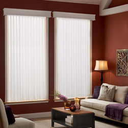 Bali - Bali Sheer Enchantment Soft Vertical Blinds: Calais & Somerset - Bali Sheer Enchantment blinds combine the traditional look of sheer draperies with the functionality of vertical blinds.  The Calais fabric is a finely woven sheer that is less transparent than the Somerset collection.  Somerset fabric is woven sheer fabric that is transparent.