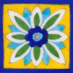 "Knobco - Tiles 3x3"", Blue, green and turquoise flower on yellow - Blue, green and turquoise flower on yellow tile from Jaipur, India. Unique, hand painted tiles for your kitchen or other tiling project. Tile is 3x3"" in size."