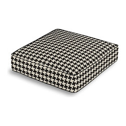 Black & White Knit Houndstooth Box Floor Pillow - Extra seating that is so good looking you won't want to store it away.  Our Box Floor Pillow is perfect for your next coffee table dinner party, fire place snuggle session, or playroom sleepover.  We love it in this chunky knit black & white houndstooth. perfect for adding cozy texture to any aesthetic from modern to traditional.
