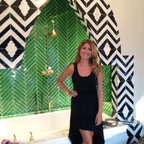 Maharaja Stone Mosaic - Custom Maharaja, a stone waterjet mosaic shown in polished Nero Marquina and Calacatta Tia, is featured in this bath designed by Genevieve Gorder for Blackman Studio, Southampton NY.