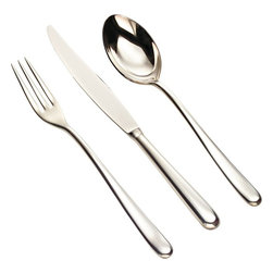 Alessi - Alessi 'Caccia' 36-pc. Cutlery Set - K.I.S.S.: Keep It Stylishly Simple. This variation on the old acronym applies to this 36-piece cutlery set. You'll embrace the elongated elegance of each utensil, plus the fork is so sleek, it sports three tines, not the traditional four.
