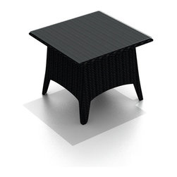 Harmonia Living - Arbor Outdoor Wicker Patio End Table - The Harmonia Living Arbor End Table (HL-AR-ET) is constructed with durable, thick-gauged aluminum frames, which are protected by a powder coating for superior corrosion resistance. The wicker is made of High-Density Polyethylene (HDPE), with its coffee bean color and UV resistance infused into the strands themselves. This creates a rich wicker color that holds up incredibly well with age.  The table includes a sturdy tempered glass top, so your patio furniture will look great and last for years to come.