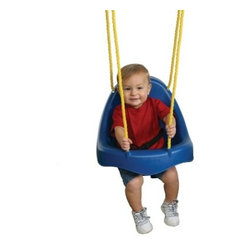 Swing-N-Slide Child Swing - Blue - A tried and true classic the Child Swing - Blue is a main-stay in the repertoire of kid fun. It's made from colorful durable plastic to last and its one-piece construction prevents pinching and injuries. Complete with a vinyl-dipped chain that lends added comfort to little hands. Plus it meets or exceeds ASTM safety standards for your peace of mind. Additional information: Complete with hooks for chain connection Swing hangers NE 4464-1 sold separately Recommended for children ages 3 and 10 years Complete with manufacturer's 5-year limited warranty About Swing-N-SlideFounded in 1985 Swing-N-Slide was America's first manufacturer of do-it-yourself wooden playground products. This remarkable company designs manufactures and distributes residential and commercial play sets across the nation. Committed to safety and driven by a desire to provide compliant fun and value-packed products Swing-N-Slide backs every play set with quality and pride. They offer unparalleled value and the unique opportunity to tailor playground products to your specific needs and budget.