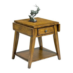 Liberty Furniture - Treasures Splay End Table (Rustic Oak) - Finish: Rustic OakOne drawer. Two drop leaves. Veneered bottom shelf. Complimentary antique hardware. Multi-step hand applied finish. Warranty: One year. Made from select hardwoods and veneers. Minimum: 30 in. L x 24 in. W x 36 in. H. Maximum: 34.88 in. L x 24 in. W x 36 in. H (75 lbs.)