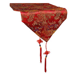 China Furniture and Arts - 96in Chinese Courtyard Motif Table Runner - Hand made with enormous attention to detail in the elaborate stitching, this silk table runner is as lively as it is lavish. Featuring a courtyard scenic pattern on red, there is also a Chinese lucky tie attached to each end for added style. Entirely made of Chinese silk, it is perfect for any table or cabinet surface. Dry clean only.