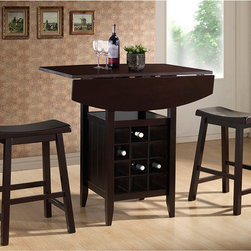 Baxton Studio - Reynolds Dark Brown Wood 3-Piece Modern Drop-Leaf Pub Set with Wine Rack - Bring the cozy feeling of a pub into your kitchen with this elegant drop-leaf pub set. Constructed from durable engineered wood products,this hardy and beautiful set includes everything you need to create an intimate dining and cocktail nook.