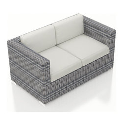 Harmonia Living - Urbana Weathered Stone Modern Loveseat, Canvas Natural Cushions - The Harmonia Living Urbana Rattan Patio Loveseat with White Sunbrella cushions (SKU HL-URBN-WS-LS-CN) features clean lines, premium synthetic wicker and brushed aluminum feet, giving your outdoors a fantastic modern look. The High-Density Polyethylene (HDPE) wicker is infused with a Weathered Stone color and UV treatment, creating long-lasting color that is fade-resistant and cannot be stripped off. Underneath the wicker is a sturdy, thick-gauged aluminum frame that is powder coated, making it incredibly corrosion resistant. The outdoor wicker seats are reinforced to prevent excessive wicker stretching, ensuring you and your guests can sit securely each time. The sofa includes seat and back cushions covered in fade- and mildew-resistant Sunbrella fabric, which is available in Canvas Natural.
