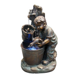 Alpine Fountains - Boy Washing Duck in Bucket Fountain w LED Lig - Made of Fiberglass and Resin. 1 Year Limited Warranty. Assembly Required. Overall Dimensions: 17 in. L x 14 in. W x 27 in. H (20.11 lbs)Add water to an environment and experience a sense of peace with any of these bronze finish fountains. A classic addition to any indoor/ outdoor retreat of your choice.