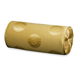 China Furniture and Arts - Silk Neck Pillow - Longevity, Gold - The oriental word longevity, the symbol of long life and good fortune in Chinese culture, is brocaded on the luxurious Chinese gold silk. Mix or arrange decoratively on a sofa, bed, or chaise. Zipper cover removes for dry cleaning.