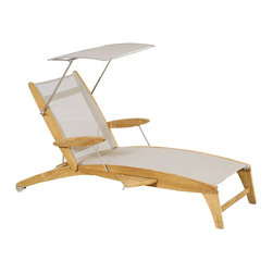 Frontgate - Curvilis Chaise Sunshade - Sling available in Off-White, Black or Ash. Responsibly crafted from beautiful Tropical Forest Trust (TFT)-certified plantation teak wood. Natural, unfinished teak has a fine-sanded finish and will weather to a beautiful silver/gray patina. Rust- and corrosion-resistant 304 stainless steel fittings add modern appeal. Add our Curvilis Sunshade (sold separately) to keep cool all afternoon. With a smooth, artful shape and comfortable construction, our Curvilis Teak and Sling Chaise makes a luxurious poolside or patio addition. The naturally weather-resistant kiln-dried teak and quick-drying Batyline mesh provide beautiful support season after season, while a perfectly sized pull-out tray is a welcome daily convenience.. . . . .
