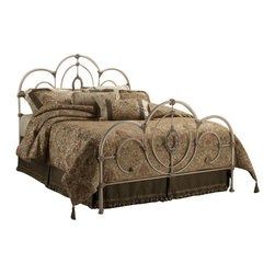 Hillsdale Furniture - Hillsdale Victoria Panel Bed - King - Shabby yet chic is all the rage and the Victoria bed is the epitome of this popular style. Surrounded by ornate castings and sweeping scrollwork, the centerpiece of this bed is the lovely filigree oval. The Victoria bed is the best of both worlds, classic antique styling without the lofty antique price.