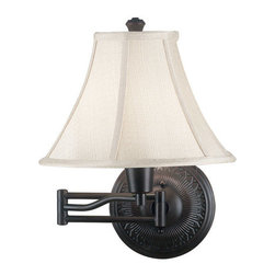 Kenroy Home - Kenroy Home 21395 Amherst 1 Light Swing Arm Wall Sconce with 3-Way Socket Switch - Traditional / Classic Swing Arm Wall Sconce From the Amherst CollectionKenroy Home's swing-arm lamps are available in a variety of styles, ranging from traditional to ultra-modern, and many come in coordinated collections, making it easy to match the lamp with an existing chandelier, torchiere, or table lamp. Like many of our sconces, Kenroy Home's swing-arm lamps don't necessarily require costly in-wall installation. Most can simply be mounted to the wall with two small screws and plugged into an electrical outlet. For those worried about the look of dangling cords, all of Kenroy's swing-arm designs include cord covers: long, thin strips that match the finish of the lamp and provide a clean-looking transition from lamp to outlet. For maximum camouflage, the lamps can be hard-wired to a junction box, allowing them to operate from a wall switch.The town of Amherst, home to scholars and poets, inspires this trio of decorative wall lamps. Small details in the backplate and a sturdy double armed extension add elegance and style. Available in 3 finishes, the Oil Rubbed Bronze finish has a matching family of lamps.