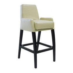 Armen Living Baldwin Counter Height Stool - 26 in. - Cream - Armen Living Baldwin Counter Stool with Arms in Cream help yourself to some pampering with this unique cream seat bar stool normally not found with arms but is with this beauty. Designed for counter height seating at 26 inches. A wooden base and legs with black finish. Cream bicast leather full upholstery on seat back and arms. Squared footrest and base with feet protectors for your floor. Arched front legs give it a aire of sophistication. Stationary stool with no swivel. Extra thick cushion seat. Dimensions: 20.5W x 24D x 38H inches. Seat height: 26 inches. About Armen LivingImagine furniture without limits - youthful robust refined exuding self-expression at every angle. These are the tenets Armen Living's designers abide by when creating their modern furniture collections. Building on more than 30 years of industry experience Armen Living combines functional versatility and expert craftsmanship into their dramatic furniture styles all offered at price points fit for discriminating budgets. Product categories include bar stools club chairs dining tables ottomans sofas and more. Armen Living is based in Sun Valley Calif.