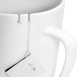 Tie Tea Mug, White, Left Handed