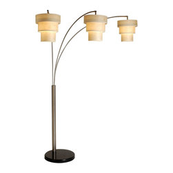 """Trend Lighting - Trend Lighting Astoria Arc Floor Lamp - 3 pk. - Astoria arc floor lamp has a brushed nickel finish. It uses three 60 Watt Type A light bulbs. Made in China.    Dimensions: Measures 83"""" tall by 86"""" wide    67"""" Shade clearance    4-way switch    Bone Kinwashi 3-tier shade    Black marble base"""
