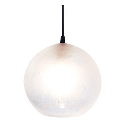 """Ridgely Studio Works - GLOBE Pendant, 8""""dia, Black Cord, 8""""dia - The GLOBE Pendant is comprised of a hand blown seeded glass sphere with a frosted finish. The pendant has a site adjustable 12' long cord set with canopy available in a black cord set with black canopy, white cord set with white canopy, and red cord set with white canopy."""
