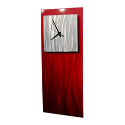 Miles Shay - Metal Wall Art Contemporary Modern Decor Clock- Ruby 1 - This Abstract Metal Wall Art and Sculpture captures the interplay of the highlights and shadows and creates a new three dimensional sense of movement as your view it from different angles.