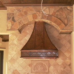Rybnicheck hood - Aged copper out door hood with hammered edges and decorative molding