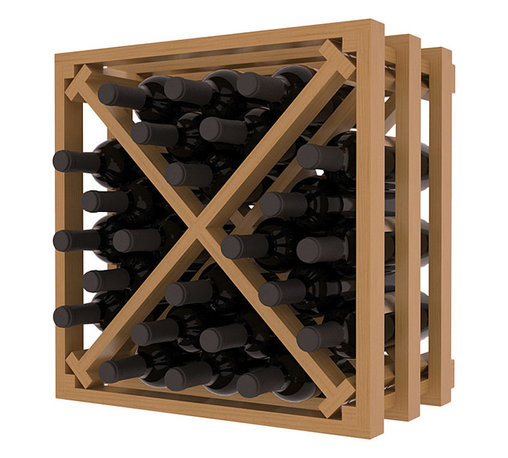 Wine Racks America - Lattice Stacking X Wine Cube in Ponderosa Pine, Oak and Satin Finish - Designed to stack one on top of the other for space-saving wine storage our stacking cubes are ideal for an expanding collection. Use as a stand alone rack in your kitchen or living space or pair with the 16-Bottle Cubicle Wine Rack and/or the Stemware Rack Cube for flexible storage.