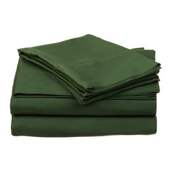 400 Thread Count Egyptian Cotton King Hunter Green Solid Sheet Set - 400 Thread Count Egyptian Cotton King Hunter Green Solid Sheet Set