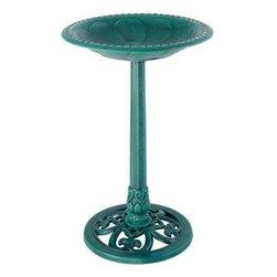 Gardman USA - Pedestal Bird Bath Verdigris - Pedestal Bird Bath Verdigris