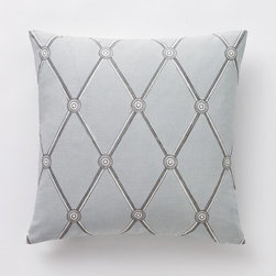 "Dwell Studio - Dwell Studio Hadley Mist Pillow - This season's geometric pattern re-energizes the room with an architectural trellis print that features Trompe L'Oeil details. This pillow is named for decorator-great Albert Hadley of the famed Parish-Hadley interior design team. This print was hand painted in our studio.Hand-printed on a sumptuous linen/cotton blend.- Linen/cotton. Hand-printed in Lithuania.- 18"" x 18""- Down feather insert included.- Hidden zipper closure.Cleaning & Care: Dry clean only."
