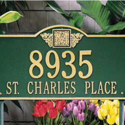 Monogram Estate Address Plaque - Personalize your property with this stunning monogrammed address plaque. The large face plate is notched at the corners with an arched center, providing room for either your street address or name.
