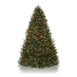 Balsam Hill - 10' BH Fraser Fir Artificial Christmas Tree - Color+Clear - Majestic and elegant, the 10' BH Fraser Fir showcases real-looking green foliage with silver undertones. With color and clear lights, this artificial Christmas tree instantly brightens up rooms with its gorgeous design.