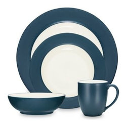 Noritake - Noritake Colorwave Blue Rim 4-Piece Place Setting - A splash of color can create a wave of excitement at the dinner table. Ultra-modern stoneware sports a matte blue glaze on the rim of the dinner and salad plates and exteriors of the bowl and mug.